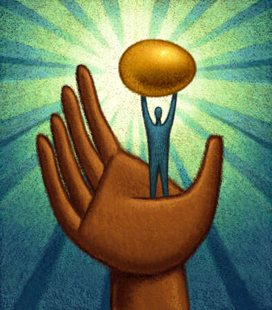 Hand holding up man holding up golden egg