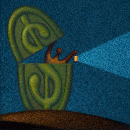Man peeking out of a dollar sign with a flashlight