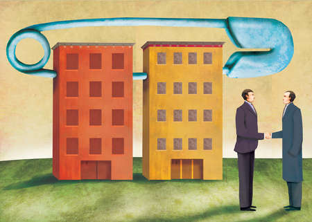 Two businessmen shaking hands in front of two buildings connected by a safety pin