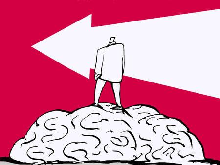 Man standing on brain following arrow