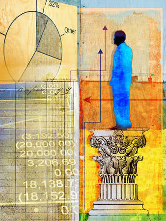 Man on pedestal with various financial data and arrows