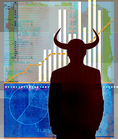 Silhouette of man with bull horns looking at financial data