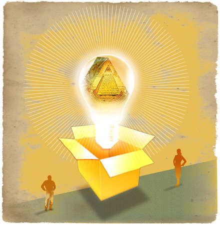 Man and woman looking at symbol of money floating out of a gold box and emitting golden rays