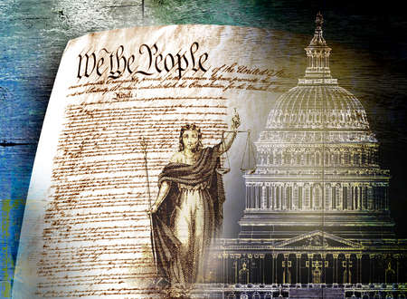 Montage of Justice, Declaration of Independence and the U.S. Capitol