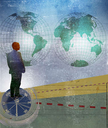 Businessman on compass looking at both hemispheres and two different paths