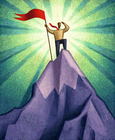 Man on mountaintop holding a flag
