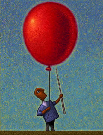 Man popping giant red balloon with giant needle
