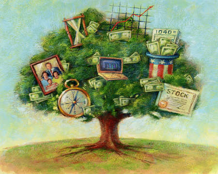 Tree holding family portrait and investment options