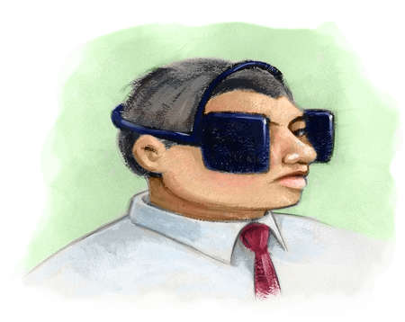 Businessman with blinders on