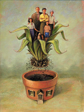 Family uprooted from their home shaped like a planter.