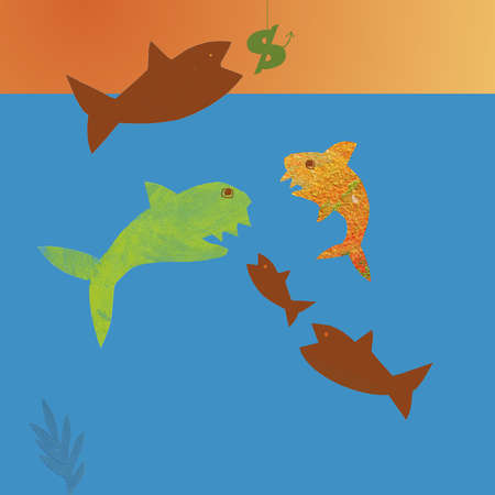 Fish fighting over dollar sign