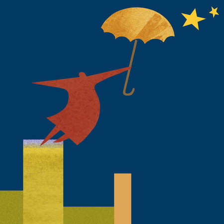 Woman holding umbrella and reaching for the stars