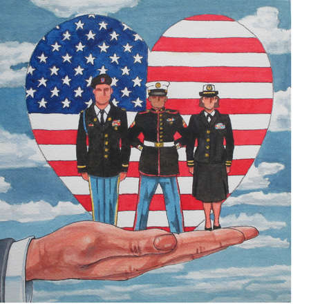 Hand holding up soldiers in front of a heart-shaped american flag
