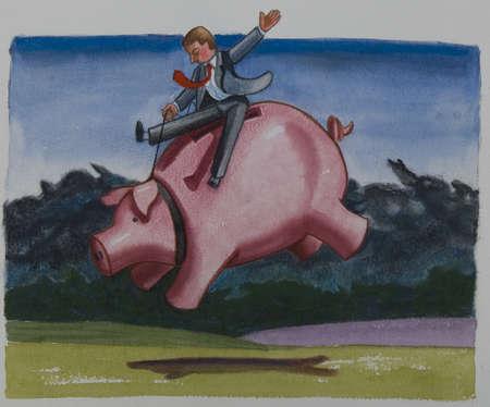 Businessman riding a piggy bank