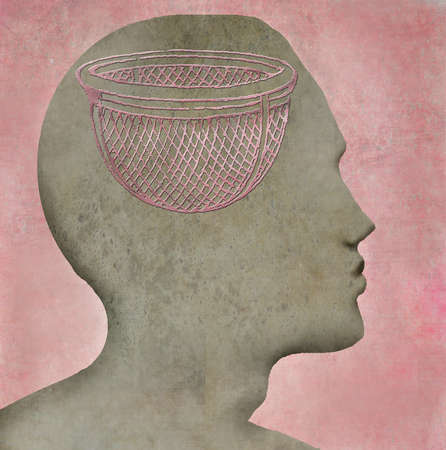 Man with a sieve for a brain