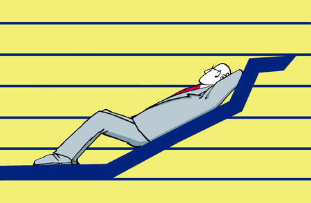 Businessman resting on an arrow moving upward