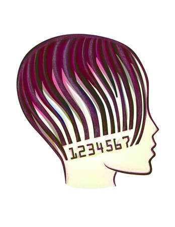 Profile of woman with bar code