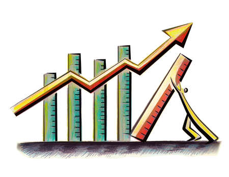 Man holding up bar graph so arrow can continue upward