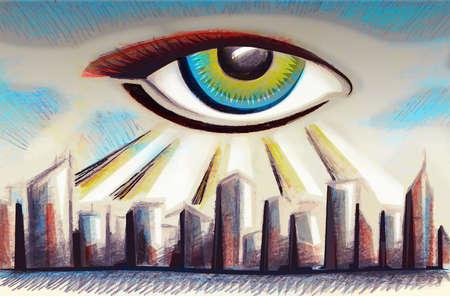 Giant eye looking over city