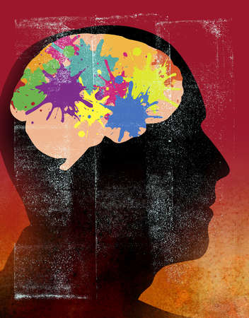 Profile of a man with brain as paint splatters