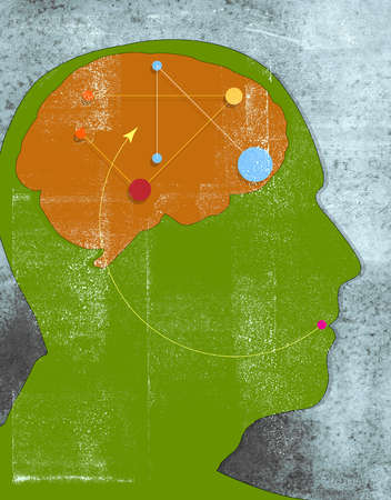 Green profile of man with brain, dots, arrows and lines