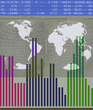 Montage of two globes, bar graphs and stock quotes