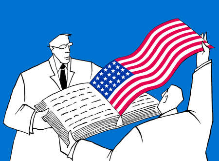 Man holding book open while another man pulls out American Flag