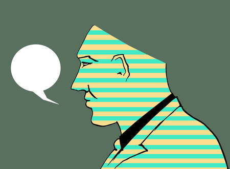 Shaded man missing part of his head with a speech bubble