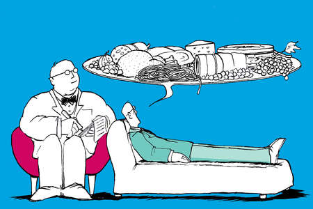 Man lying on couch with speech bubble full of food, talking to his analyst