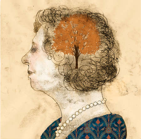 Woman in profile with brain represented as a tree in the fall