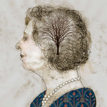 Woman in profile with brain represented as a bare tree