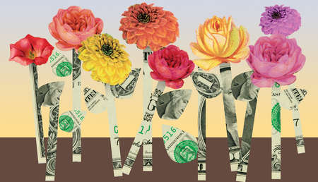 Flowers with stems and leaves made out of money