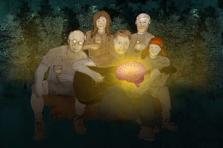 Group of people at a campfire holding a brain