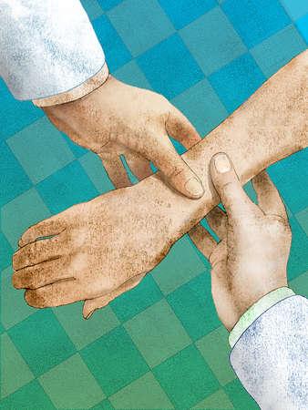 Doctors holding a patient's arm