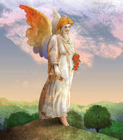 Angel on a hilltop carrying roses