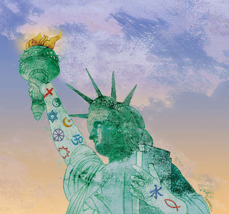 Statue of Liberty covered with various religious symbols