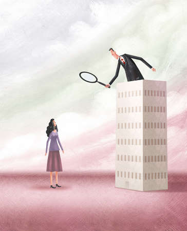 Man atop a tall building looking through a magnifying glass at a woman below