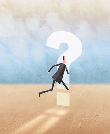 Man running through question mark