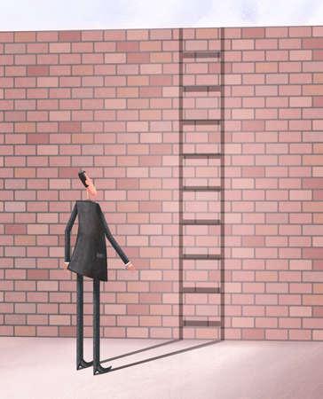 Man looking at brick wall while his shadow forms a ladder