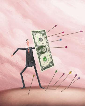 man using dollar bill as a shield against a barrage of arrows