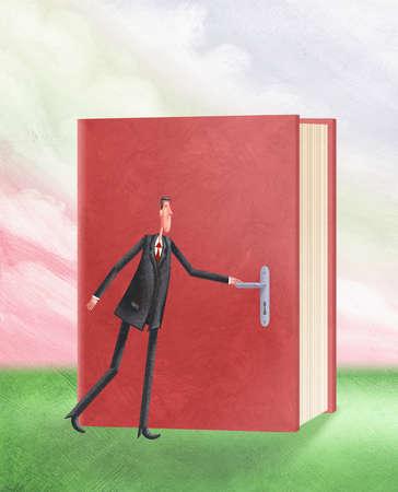 Man opening book with a door handle