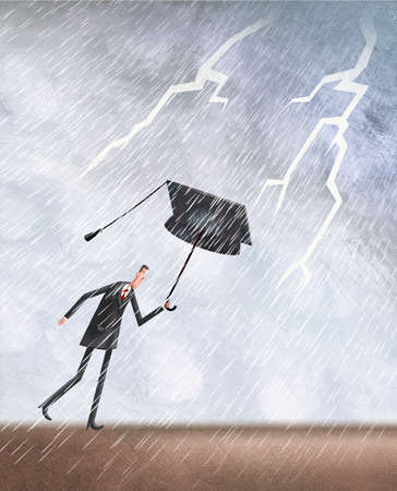 Person in a thunderstorm using a mortarboard as an umbrella