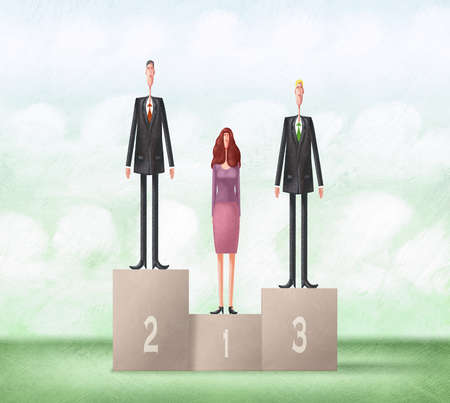 Two men and one woman on unequal podiums