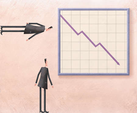 Two businessmen looking a graph, one a pessimist, one an optimist