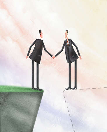 Two businessmen shaking hands, one on a cliff, one on an imaginary cliff