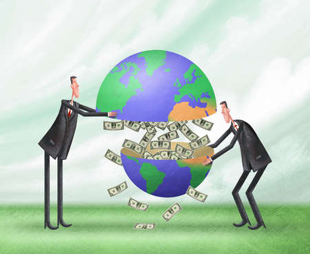 Two businessmen pulling the earth apart to reveal money