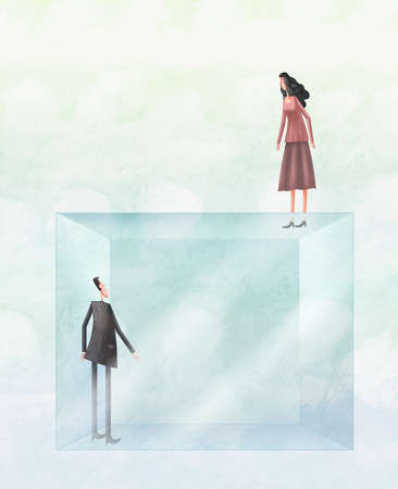 Man looking up at woman standing atop a pane of glass