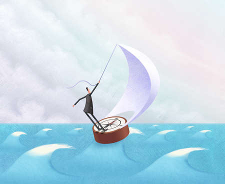 Man sailing the seas atop a compass as boat
