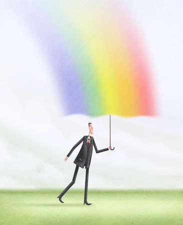 Man walking hold a rainbow umbrella