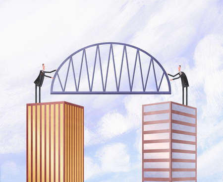 Two businessman atop tall buildings holding a bridge
